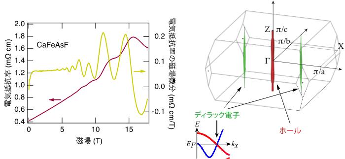 「(左) CaFeAsFの電気抵抗とその磁場微分。電気抵抗が約5 Tより高磁場で上下にうねっているのが量子振動 (赤色のライン) 。微分では振動がよりはっきりと見える (黄色のライン) 。測定温度は絶対温度0.03 K。 (右) バンド計算によるフェルミ面。赤色で示したホール的なフェルミ面と緑色の電子的フェルミ面がある。下にある挿入図はエネルギーバンドの計算結果の一部。赤と青で示した二つのエネルギーバンドが交差するところにディラック電子が出現し緑色の電子的フェルミ面を作る。」の画像