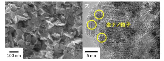 「プレスリリース中の図 : (1)ナノフレーク状の酸化鉄ナノ多孔体の電子顕微鏡像。(2) 金ナノ粒子をナノフレーク状の酸化鉄ナノ多孔体に担持した電子顕微鏡像。」の画像